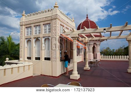 Cienfuegos Cuba - January 28 2017: Beautiful Palacio de Valle in CienfuegosCuba.Palacio de Valle is an architectural jewel located in the Punta Gorda reminiscent of Spanish-Moorish art GothicBaroque...