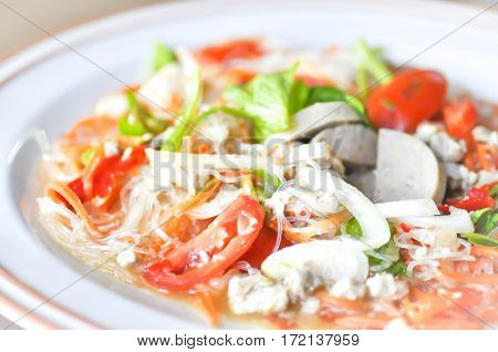 spicy salad or Thai salad dish ,vegetable salad