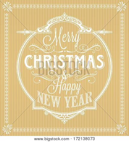 Vintage Merry Christmas And Happy New Year Calligraphic and Ornament Frame