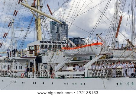 GDYNIA, POMERANIAN / POLAND - JUNE, 2015: Frigate DAR MLODZIEZY on the waterfront at Kosciuszko Square after returning from a cruise