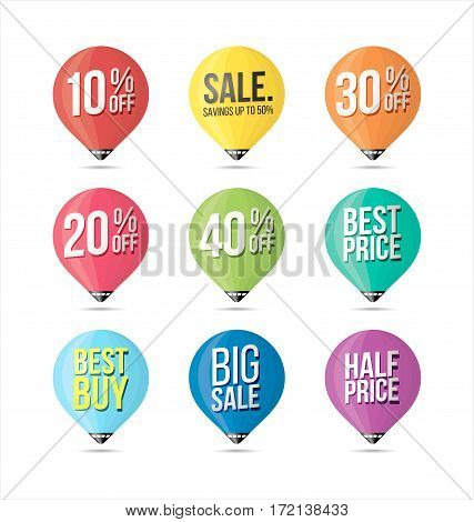 Set of Sale Stickers Retro Colors. Promotional Badges and Sale Tags.