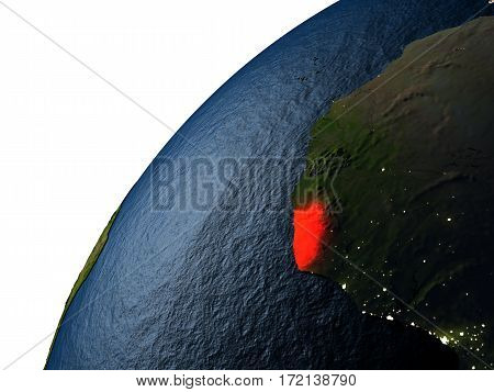 Liberia In Red On Earth At Night