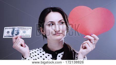 beautiful woman choosing between career and family between money and love