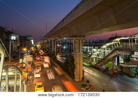 Bangkok Thailand - February 132017 : Bangkok traffic flow in evening time on Sukhumvit road