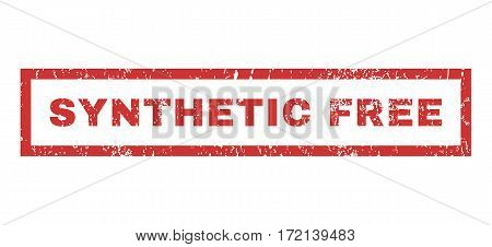 Synthetic Free text rubber seal stamp watermark. Tag inside rectangular banner with grunge design and dirty texture. Horizontal vector red ink emblem on a white background.