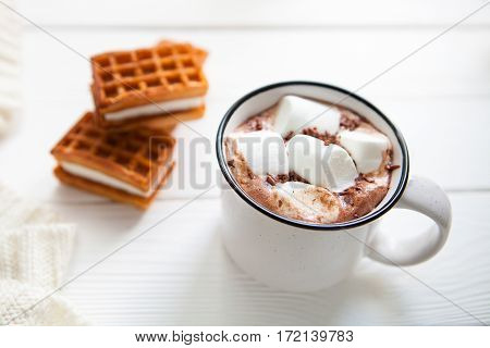 Cup Hot Chocolate With Marshmallows In A Ceramic Cup, Plaid And Wafer On White Wooden Surface, Copy