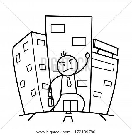 Building A Career in A Big City, a hand drawn vector doodle illustration of a businessman struggling for success in a big cosmopolitan city lifestyle.