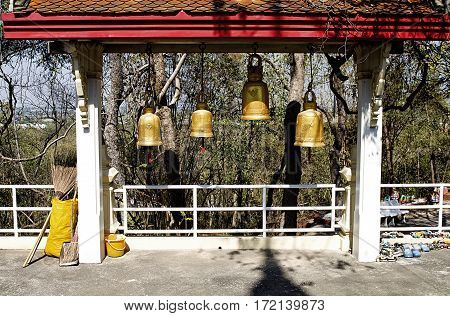 Asia bell golden oriental tradition  Buddhist culture