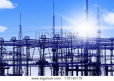 Transformer switchgear high voltage in front of blue sky