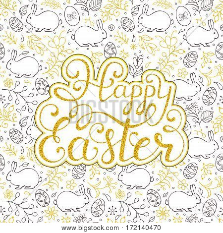 Floral easter card with handwriting inscription Happy Easter on white background. Vector illustration.