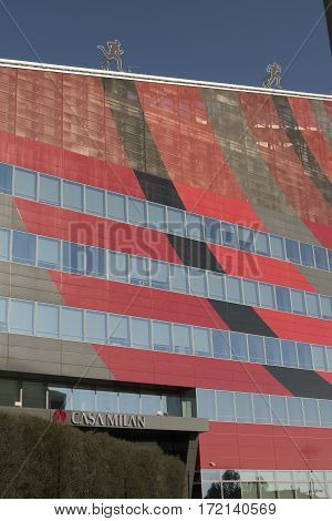 MILAN, ITALY - AUGUST 27, 2016: Milan (Lombardy Italy): modern office building in the new Portello area hosting the headquarter of A.C. Milan historic football club