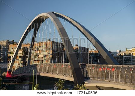 Milan (Lombardy Italy): modern bridge for pedestrians and bicycles in the Portello area