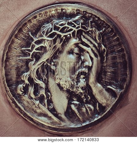 detail of sculpture of Jesus Christ (portrait)