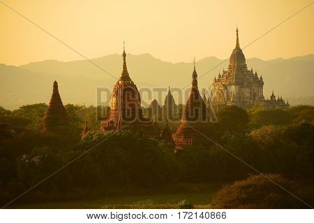 The Temples of Bagan, Pagan, Mandalay, Myanmar. BURMA