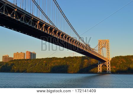 George Washington Bridge New York City at sunrise.