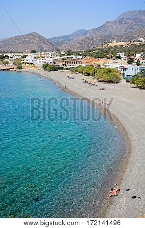 MAKRIGIALOS, CRETE - SEPTEMBER 18, 2016 - Elevated view of the beach with views towards the mountains Makrigialos Crete Greece Europe, September 18, 2016.