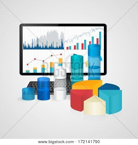 Computer and keyboard with financial charts and graphs - business, finance, accounting statistic concept . Vector illustration.