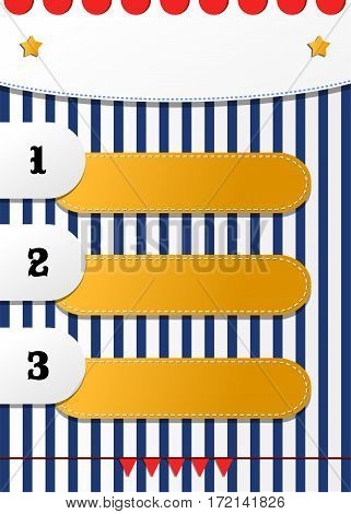 Fun three numbered positions list vector design for children. Circus or fair or festival striped colorful empty flyer template. Blank festive agenda background
