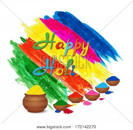 Happy holi celebration background with traditional mud pots and gulal colors powder. Vector illustration.
