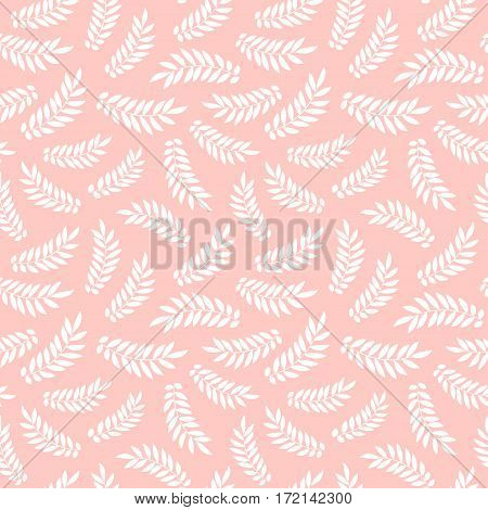 Seamless Pattern With Sketch Leaves. Vector Green Nature Background. Doodle Drawing.