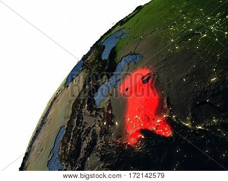 Uzbekistan In Red On Earth At Night