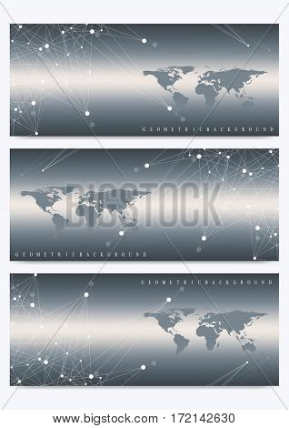 Modern set of vector banners with World Map. Geometric presentation. Molecule DNA and communication background for medicine, science, technology, chemistry.Cybernetic dots. Lines plexus. Card surface