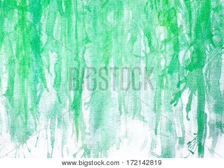 Abstract Hand Painted Green Watercolor On Painting Paper Background And Texture.