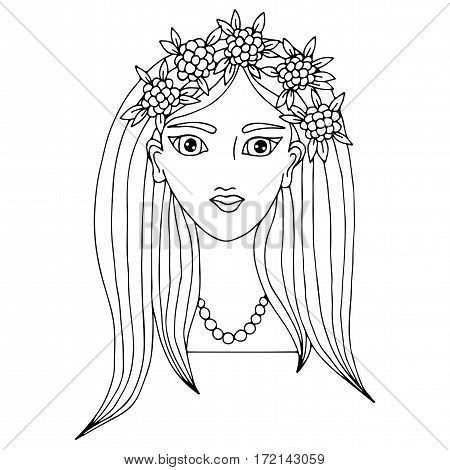 Portrait of a beautiful girl with long hair with flower and leaves. Mono color black line art element for coloring book design.