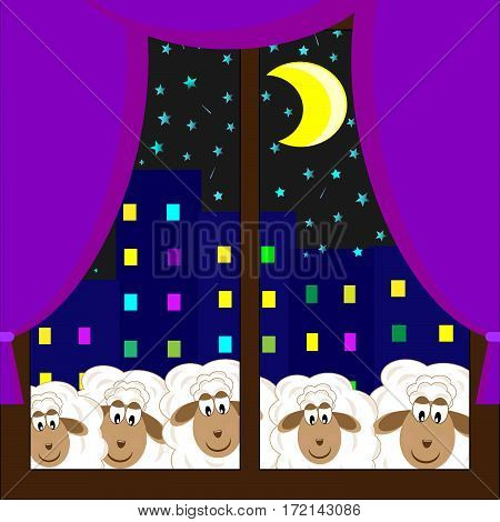 cute sheep stare out the window starry sky vector illustration