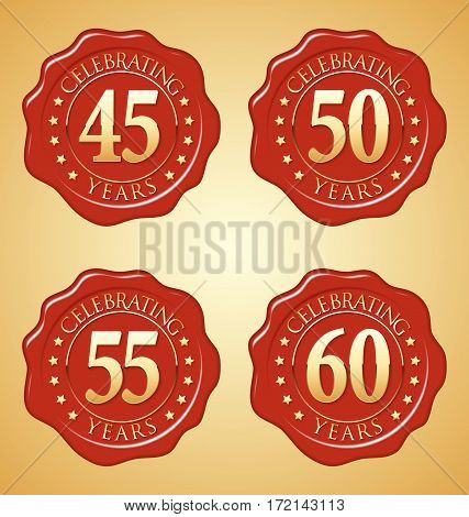 Vector Set of Anniversary Red Wax Seal on Gold Background.