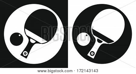 Ping pong racket icon. Silhouette ping pong racket and ball on a black and white background. Sports Equipment. Vector Illustration