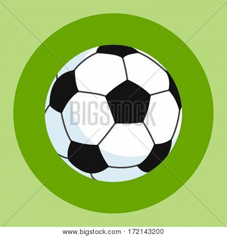 Soccer ball icon. White-black soccer ball on a green and red background. Sports Equipment. Vector Illustration
