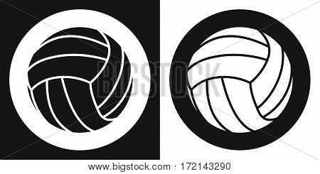 Volleyball ball icon. Silhouette volleyball ball on a black and white background. Sports Equipment. Vector Illustration