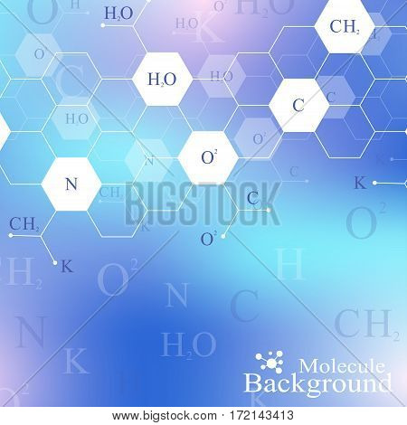 Scientific hexagonal chemistry pattern. Structure molecule DNA research as concept. Science and technology background communication. Medical scientific backdrop for your design. Vector Illustration