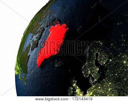 Greenland In Red On Earth At Night