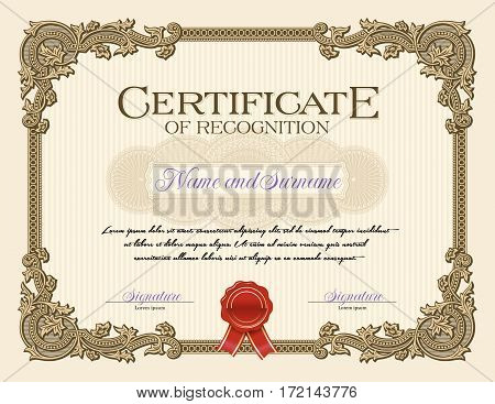 Ornament Vintage Frame Certificate of Recognition Beige