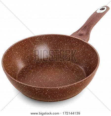 brown frying pan with a nonstick coating isolated on white background