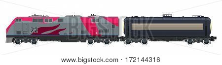 Locomotive with Railway Tank Car , Train Isolated on White Background, Railway and Container Transport, Tank on Railway Platform for Transportation of Liquid and Loose Freights , Vector Illustration