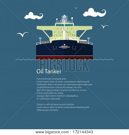 Front View of the Vessel Oil Tanker and Text, International Freight Transportation, Ship for the Transportation of Goods, Poster Brochure Flyer Design, Vector Illustration