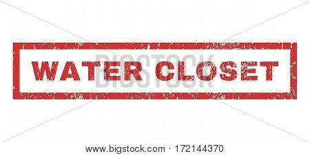Water Closet text rubber seal stamp watermark. Tag inside rectangular banner with grunge design and dust texture. Horizontal vector red ink sign on a white background.