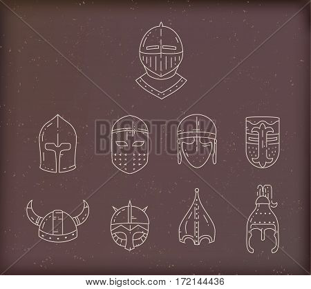 Medieval flat line helmet icons set on brown vintage background