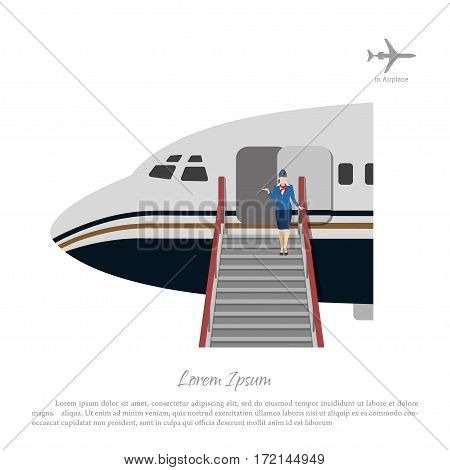 Stewardess welcomes passengers at the aircraft ladder. Flight attendant near the airplane door. Vector illustration