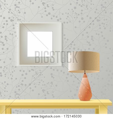 Interior room realistic mockup with square frame or picture on wall, wooden table. Layered and editable. Fashion trendy warm colors . Vector illustration for your business or artwork presentation