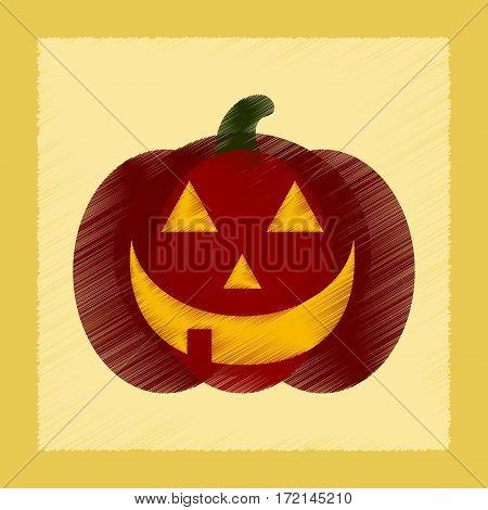 flat shading style icon of halloween pumpkin
