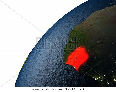 Ivory Coast In Red On Earth At Night