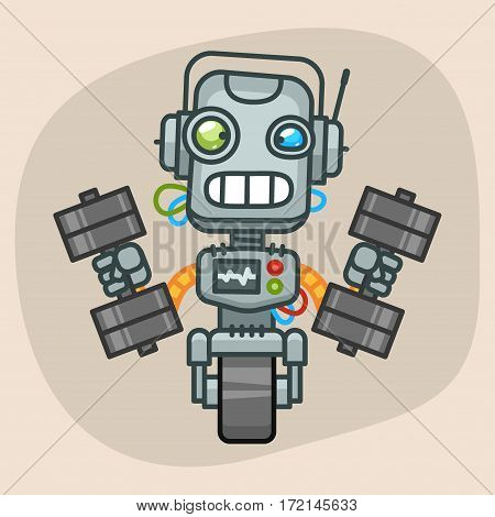 Vector Illustration, Robot Picks Up Two Dumbbells, Format EPS 10
