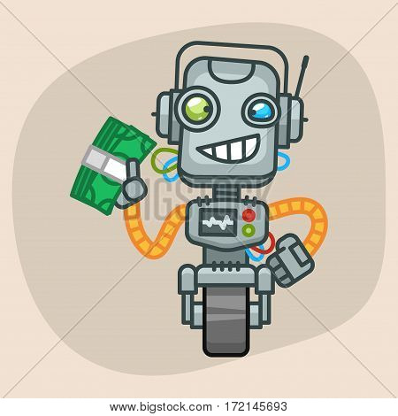 Vector Illustration, Robot Holds Wad of Money, Format EPS 10