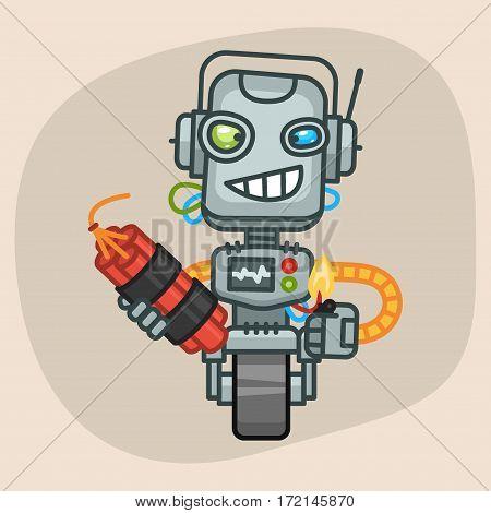 Vector Illustration, Robot Holds Dynamite, Format EPS 10