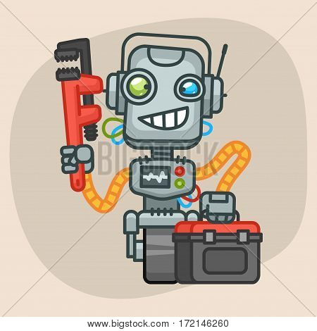 Vector Illustration, Robot Holds Suitcase and Pipe Wrench, Format EPS 10