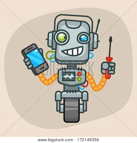 Vector Illustration, Robot Holding Screwdriver and Phone, Format EPS 10